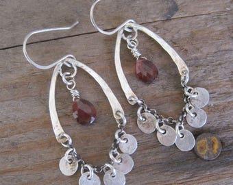 Bohemian Earrings, Boho Earrings, Garnet Earrings, Chandelier Earrings, Holiday Jewelry, Statement Earrings, Cocktail Earrings