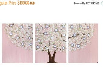 ON SALE Nursery Decor Girl - Pink and Purple Wall Art Canvas Tree Painting Triptych - Large 50x20
