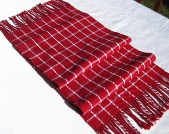"57"" Red Hand Woven Table Runner Hand Woven Red Table Runner Red and White Table Runner Hand WovenTable Runner 4th of July Table Decor"
