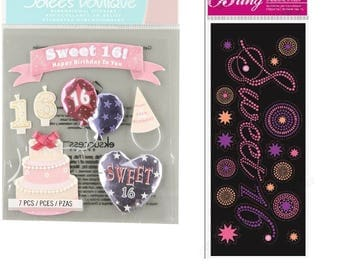 Jolees BLING Title - SWEET 16 Sixteen | Birthday | Scrapbook | Card Making