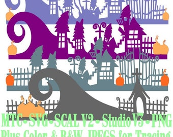 Borders Nightmare Before Christmas Bundle of 4 Cut Files MTC  SVG File Format with B&W traceable JPEG