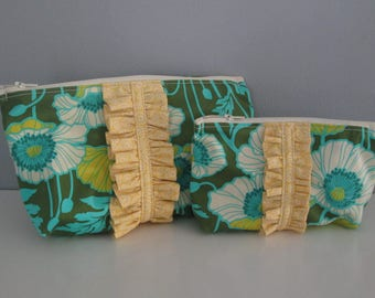 Set of Two Zipper Pouches - Handmade Cosmetics Bags, Travel Accessories, Make up Bags