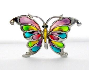 Butterfly Brooch Plique a Jour Silver