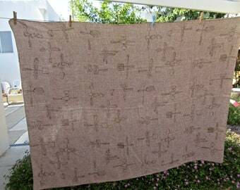 Vintage Tablecloth, Midcentury Modern, Brown and White Checked Tablecloth, Cotton Tablecloth, Hardy Craft Tablecloth, Utensil Motifs