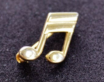 Musical Note Pin, Gold tone, Vintage, Small (AC8)