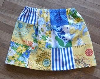 Girls Patchwork Skirt, Handmade Skirt, Spring Skirt, Coloful Patchwork, Unique Clothing, Twirl Skirt, Hippie Boho, Flowers, New Fabrics,Cute