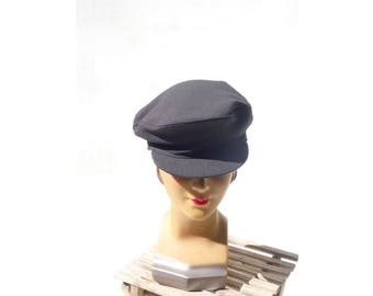 Vintage Newsboy Cap 1960s Gray Cap 1960s Newsboy Cap Mod 60s Hat 60s Workwear Cap Size 7 5/8 L, XL