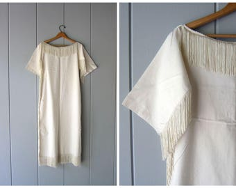 Natural White Cotton Dress Long Fringed White Slip Dress Boho Flapper Dress Thin Sheer Cotton Tunic Caftan Gypsy Midi Dress Womens XS Small