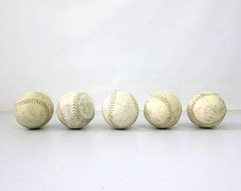 collection of old softballs Set of 5 beat up distressed leather balls Sports Room Den Decor