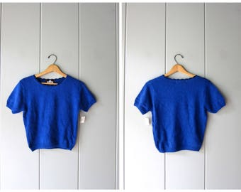 Blue Cropped Knit Sweater Top 80s Short Sleeve Knit Top Soft Knit Crop Top Minimal Preppy Fuzzy Sweater Tee Vintage Womens Small Medium
