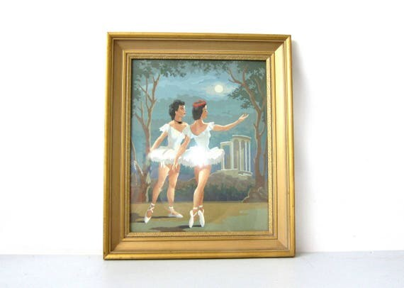 Large Paint by Numbers Painting Ballet Dancers Gold Framed Ballerinas Vintage Art Mid Century Retro PBN wall hanging 24.5 x 20.5 Inches