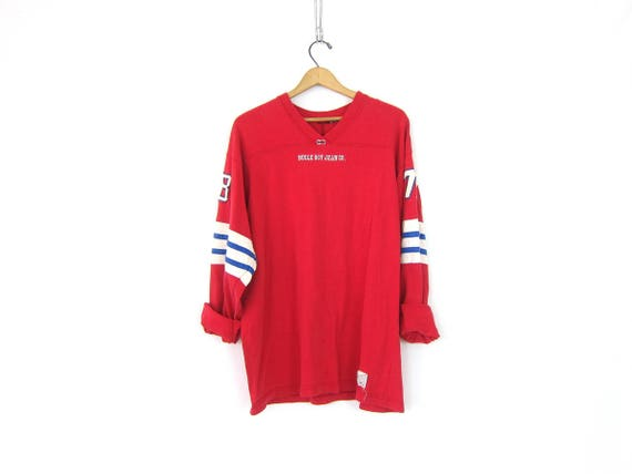 Bugle Boy Rugby TShirt Red Oversized Long Tunic Jersey Tee Shirt Preppy Sporty T Shirt Vintage COED Unisex Size Large XL