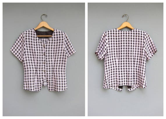 Cropped Top Lilac Purple & Black Checkered Blouse Sheer Button Up Cotton Shirt Vintage Retro Shirt Hipster Crop Top Womens Medium