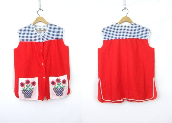 Red Floral Apron Top Vintage Hand Made Apron Shirt with Snaps Front Pockets Retro Kitchen Cook Canning Apron Flower Pot fabric Artist Smock