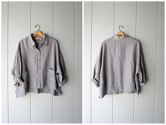 Boxy Linen Top Vintage 90s Blouse Oversized Linen Shirt Long Sleeve Shirt Minimal Pocket Shirt Chore Blouse Simple Blue Top Womens Medium