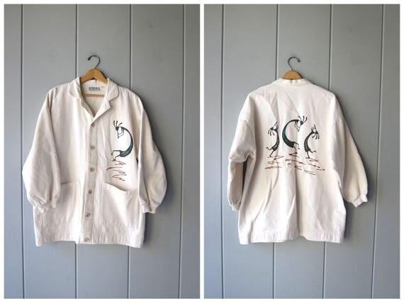 80s Sweatshirt Coat Baja Beach Jacket White Cotton Button Up Sweatshirt Hippie Boho Rastafarian Vintage Oversized Jacket Small Medium