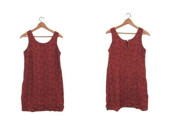 90s Tribal Print Dress Hippie Sun Dress Light Airy Slip Dress Brown Red Rayon Summer Boho Vintage Ethnic Natural Dress Womens Small Medium