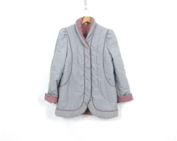 Retro Puffy Coat vintage Gray and Purple puffer jacket 1980s Stranger Things winter coat Caual Hipster Coat womens size Medium