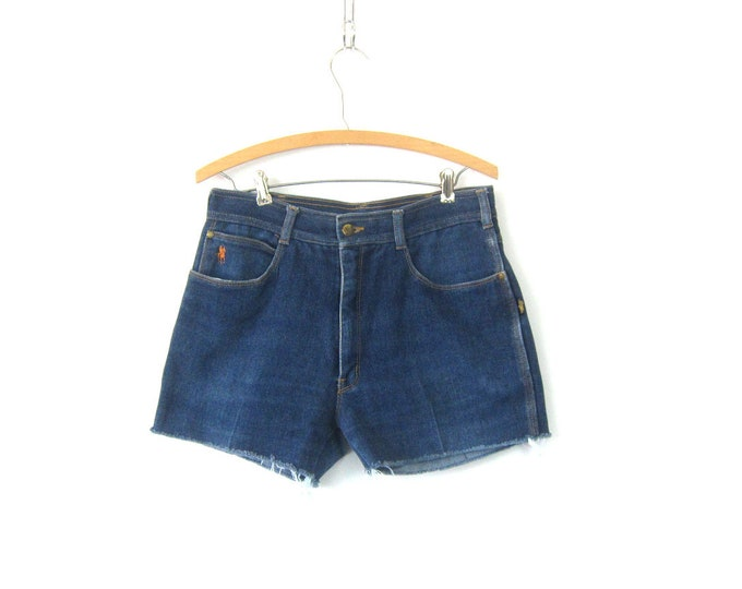 80s Blue Jean Shorts High Waist Cut Off Ivanhoe Denim Shorts Vintage 1980s MOM Shorts Frayed Hipster Boho Womens Size 32 inch waist