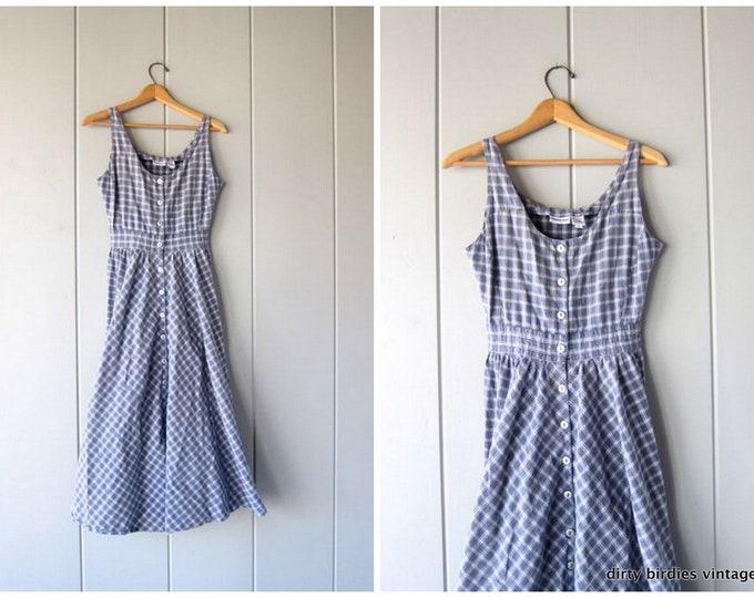 Blue & White Cotton Dress Vintage 90s Simple Market Sun Dress Button Front Sleeveless Summer Tank Dress Checkered Print Sundress Women Small