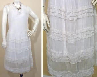 1920s Vintage White Voile Day Dress SZ S
