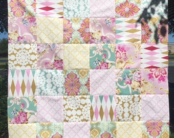 Baby Quilt Top Patchwork Nostalgia by Jennifer Paganelli  Shabby  Ready to Quilt DIY Nursery Gift Baby Shower