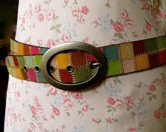 Vintage Fossil Belt, Patchwork Leather Belt, Bohemian Belt, Fossil Belt,  Hippie Belt, Pschedelic, Multi color belt, Big buckle belt, belt