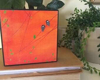 Orange with 2 blackcap chickadees wall decor