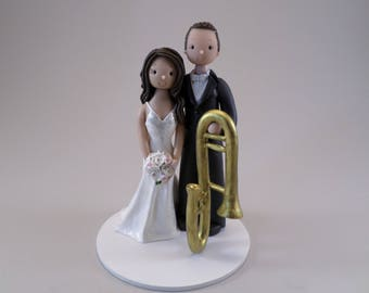 Bride & Groom with a Trombone Customized Wedding Cake Topper - reserved for jesa1321