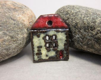 Rustic Ceramic House Button...Summer Cottage...Red Roof