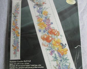 Vintage Bucilla Counted Cross Stitch Kit Summer Garden Bell Pull 1997