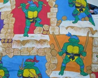 Vintage Teenage Mutant Ninja Turtles Twin Size Fitted Sheet 1988 TMNT