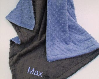 SALE Denim Blue and Slate Gray Dot Minky Baby Blanket for Boy Can Be Personalized