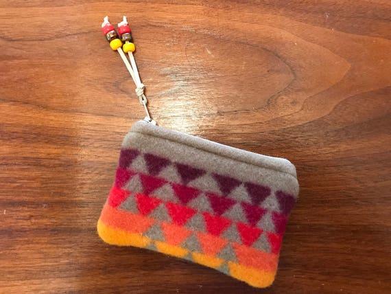 Wool Coin Purse / Gift Card Holder XL Tan & Orange