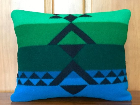 Wool Decorative Pillow / Accent Pillow / Rustic Pillow 16 x 13 Green & Black Chief Joseph