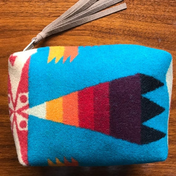 Wool Clutch Unlined / Travel Bag / Cosmetic Bag Large Bright Turquoise & Rainbow