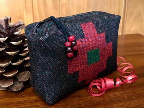 Cosmetic Bag / Makeup Bag / Zippered Pouch Medium Wool Red Cross