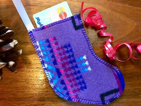 Christmas Stocking Ornament / Gift Card Holder / Money Holder Wool Purple Mini Chief Joseph