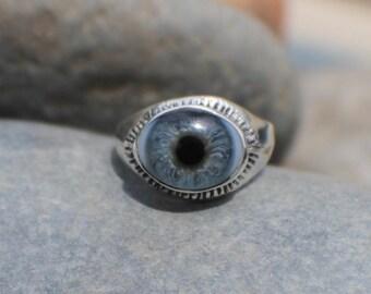 Sz 9 Sterling Silver Blue Prosthetic Eye Lash Ring