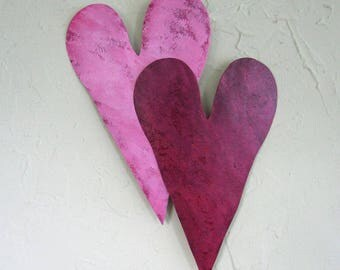 Metal Wall Art Heart Duo Recycled Metal Valentines Anniversary Wall Decor Couples Love Pink Red 10 x 14