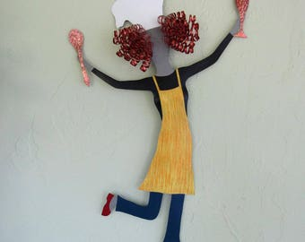 Kitchen Wall Art Lady Chef Sculpture Recycled Metal Wall Art Kitchen Culinary Wall Sculpture Dancing Chef Wall Decor Red Head   15 x 22