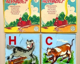 2 Vintage Marx Hand-Painted ALPHABET Puzzles Horse - Cow