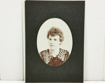 Edwardian Woman in Lace Dress, Early 1900's Antique Found Photo Cabinet Card