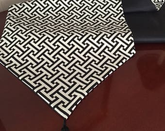 Home Decor PK Lifestyles Cross Section Licorice Geometric in Black and White Table Runner by ThemeRunners