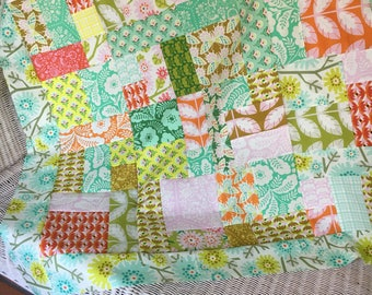 Clementine by Heather Bailey for Free Spirit - Unfinished Quilt top baby sized  - Ready to quilt - floral / patchwork / pink, teal / Girl