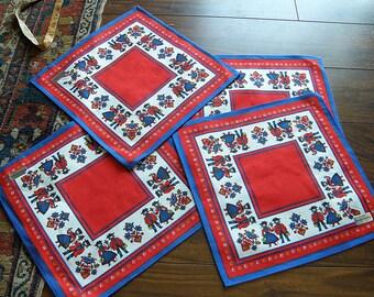 4 Napkins..KOLF AUSTRIAN Bright Colors, 100% Cotton