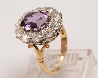"""18kt White and Yellow Gold """"Halo"""" style ring:  Amethyst and Diamonds, Edwardian Engagement Ring, February Birthday Gift, Love Token"""