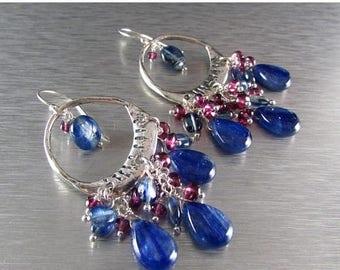 25 OFF Kyanite and Garnet Sterling Silver Artisan Chandelier Cluster Earrings