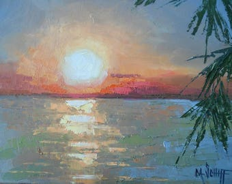 """Tropical Sunset Painting, Small Oil Painting, Aloha Painting, Palette Knife Painting, 8x10x.1"""" Textured Oil Painting"""