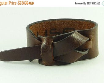 On Sale Mahogany water buffalo leather Cuff / Bracelet Nickle-Free/vegetable tanned leather Free shipping